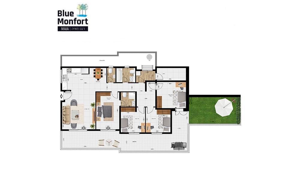 דגם תמר, 5 חדרים עם מרפסת 138 מר'