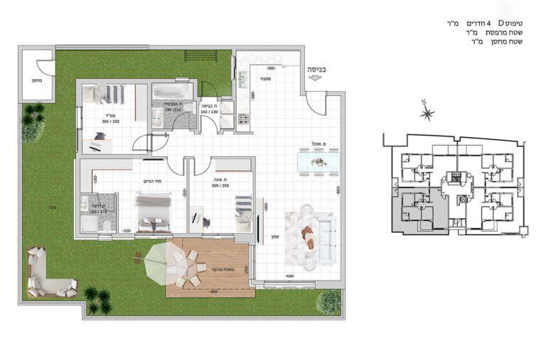 D1 תכנית דירה פרויקט קדמה כפר ורדים
