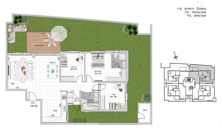 D2 תכנית דירה פרויקט קדמה כפר ורדים